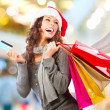 Stock Photo: Christmas Shopping. Girl With Credit Card In Shopping Mall.Sales