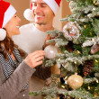 Happy Couple Decorating Christmas Tree in their Home — Stock Photo #19748455