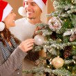 Stockfoto: Happy Couple Decorating Christmas Tree in their Home