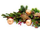 Kerstdecoratie. decoraties voor de feestdagen geïsoleerd op wit — Stockfoto