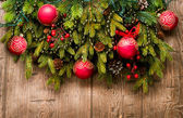 Christmas Decoration Over Wooden Background — Stok fotoğraf