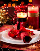 Christmas Table Setting. Holiday Decorations — Foto Stock