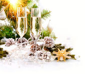 New Year Card Design with Champagne. Christmas Celebration — Stock fotografie