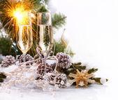 Kerstviering met champagne — Stockfoto