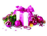 Christmas Gift Box and Decorations isolated on White — Stock Photo