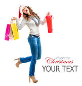 Girl with Shopping Bags. Christmas Shopping. Sales — Stock Photo