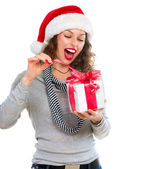 Beautiful Young Woman Opening Christmas Gift Box. Surprised Girl — Stock Photo