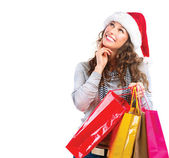 Christmas Shopping. Woman with Bags over White. Sales — Stock Photo