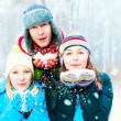 Family Outdoors. Happy Family Blowing Snow — Stock Photo #19751525