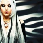 Beauty Fashion Girl black and white style — Stock Photo