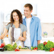 Happy Couple Cooking Together. Dieting. Healthy Food — Stock Photo