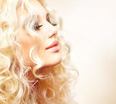 Beautiful Girl with Curly Blond Hair — Foto Stock
