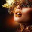 Stock Photo: Luxury Golden Makeup. Beautiful Professional Holiday Make-up