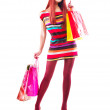 Fashion Shopping Girl. Woman with Shopping Bags over White — Stock Photo