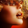 Luxury Golden Makeup. Beautiful Professional Holiday Make-up - Stock Photo