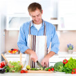 Young Man Cooking. Healthy Food — Stock Photo