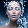 Winter Beauty Woman. Christmas Girl Makeup — Εικόνα Αρχείου #20381591