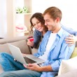 Online Shopping. Couple Using Credit Card to Internet Shop — Stok fotoğraf #20381597