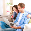 Foto de Stock  : Online Shopping. Couple Using Credit Card to Internet Shop
