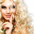 Beautiful Girl with Curly Blond Hair isolated on White  — Стоковая фотография