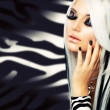 Beauty Fashion Girl black and white style. Long White Hair - Stock Photo