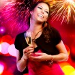 Beautiful Girl with Holiday Makeup Holding Glass of Champagne - Stock Photo
