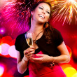 Beautiful Girl with Holiday Makeup Holding Glass of Champagne — Stock Photo