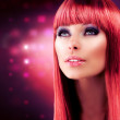 Red Haired Model Portrait. Beautiful Girl with Long Healthy Hair — Stock Photo