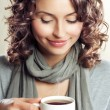 Beautiful Woman drinking Coffee or Tea — Stock Photo