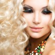 Beautiful Girl with Curly Blond Hair — Stock fotografie