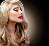 Beautiful Blond Woman with Holiday Makeup over Black — Stock Photo
