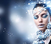 Winter Woman. Christmas Girl Makeup — Stock Photo