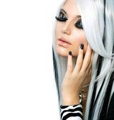 Beauty Fashion Girl black and white style. Long White Hair — Stock Photo