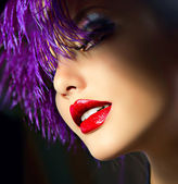 Fashion Art Girl Portrait With Violet Hair. Hairstyle — Stock Photo