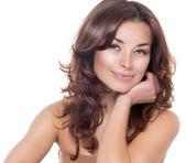 Skönhet porträtt. avmarkera frisk hud. hudvård — Stockfoto
