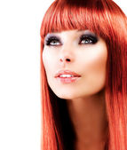 Red Haired Model Portrait over White Background — Stock Photo