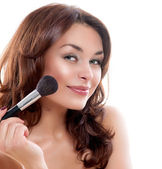 Beautiful Young Woman Applying Makeup — Stock Photo