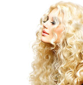 Beauty Girl With Healthy Long Curly Hair. Blonde Woman — Stock Photo