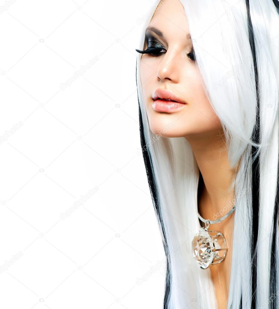 Beauty Fashion Girl Black And White Style Long White Hair Stock Photo Subbotina 20383963