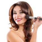 Beautiful Young Woman Applying Makeup. Brunette Girl — Stock Photo #21974823