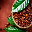Coffee beans. Bowl of Aromatic Coffee close-up - Foto de Stock  
