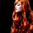 Wavy Red Hair. Fashion Girl Portrait — Stock Photo
