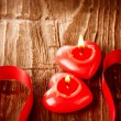 Valentines Hearts Candles over Wood. Valentine's Day — Stock Photo #21975015