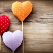 Valentines Vintage Handmade Hearts over Wooden Background - Stockfoto