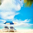 Vacation and Tourism concept. Sunbeds on the paradise beach — Stock Photo