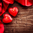 Royalty-Free Stock Photo: Valentines Hearts Candles over Wood. Valentine\'s Day