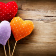 Stock Photo: Valentines Vintage Handmade Hearts over Wooden Background
