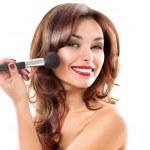 Beautiful Young Woman Applying Makeup. Brunette Girl — Stock Photo