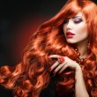 Stock Photo: Red Hair. Fashion Girl Portrait. long Curly Hair