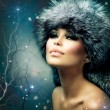 Winter Christmas Woman Portrait. Beautiful Girl in Fur Hat - Stock Photo